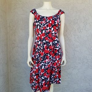 London Times Red Rose Floral Fit & Flare Dress